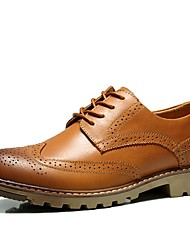 cheap -Men's Brogue Leather Spring / Fall Comfort Oxfords Brown / Leather Shoes