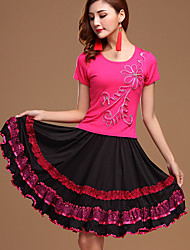 Latin Dance Outfits Women's Performance Cotton Milk Fiber Embroidery / Sequins 2 Pieces Fuchsia / Light Red Top / Skirt