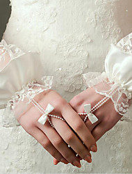 New Wrist Length Fingerless Glove Lace / Elastic Satin Bridal Gloves with Pearls / Ruffles / Bow / lace