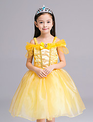 cheap -Girl's Formal Patchwork Dress, Polyester All Seasons Short Sleeves Dresswear Bow Yellow