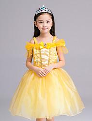 お買い得  -女の子の フォーマル パッチワーク ポリエステル ドレス オールシーズン 半袖 ドレスウェア リボン イエロー