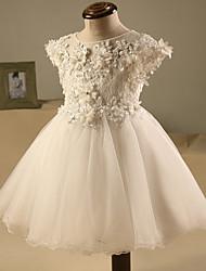 abordables -una línea de corto / mini vestido de niña de flores - cuello de tul de manga corta joyas con rebordear por lovelybees
