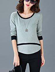 Damen Patchwork Einfach Lässig/Alltäglich T-shirt,Rundhalsausschnitt Sommer Langarm Grau / Orange Baumwolle Dünn