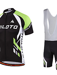 cheap -Miloto Men's Short Sleeves Cycling Jersey with Bib Shorts Bike Bib Shorts Bib Tights Jersey Clothing Suits, Quick Dry, Breathable,