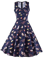 Women's Going out / Party Vintage Sheath Dress,Floral / Print Square Neck Knee-length Sleeveless Summer