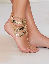cheap -Gold Plated Anklet Barefoot Sandals - Women's Golden Unique Design Tassel Vintage Sexy Multi Layer Statement Fashion European Jewelry
