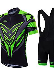 cheap -Fastcute Men's Short Sleeves Cycling Jersey with Bib Shorts - Green/Black Bike Clothing Suits, Quick Dry, Breathable, Sweat-wicking
