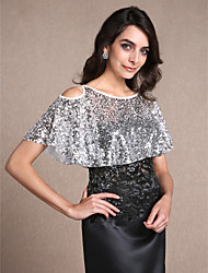 Sleeveless Sequined Party Evening Women's Wrap With Sequin Capelets