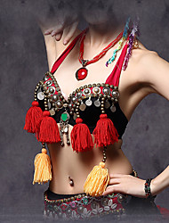 cheap -Belly Dance Tops Women's Performance Cotton / Polyester Beading / Coins / Tassel(s) 1 Piece Black Tribe Bra
