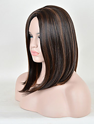 Celibrity Style Ombre Brown Straight Middle Length Fashion Europe and American Ladies Daily Wearing Synthetic Wigs