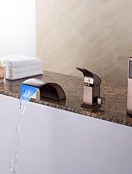 preiswerte -Antike Art déco/Retro Modern Romanische Wanne Wasserfall Handdusche inklusive LED Keramisches Ventil Drei Löcher Einhand Drei Löcher