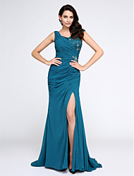 cheap -Mermaid / Trumpet V-neck Sweep / Brush Train Chiffon Evening Dress with Appliques Crystal by TS Couture®