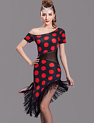 Latin Dance Dresses Women's Performance Milk Fiber Tassel / Polka Dots 1 Piece Red / White Short Sleeve Free Shorts