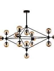 Modern Dimmable Modo Chandelier 15 Lights Semi-Flush Mounted Black Paiting Amber Glass for Living Room Loft Light