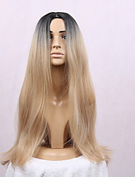 cheap -Synthetic Hair Wigs Straight Middle Part Dark Roots Ombre Hair Heat Resistant Black Wig Long Blonde