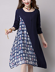 cheap -Women's Casual Ethnic Print Loose Dress,Patchwork Knee-length Long Sleeve Blue / Red Cotton / Linen Spring / Fall