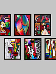 Abstract Fantasy Framed Canvas Framed Set Wall Art,PVC Material Black No Mat With Frame For Home Decoration Frame Art