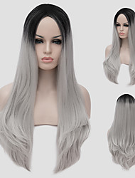 Women Synthetic Wig Long Black to Grey Ombre Hair Natural Straight Fashion Party Wig