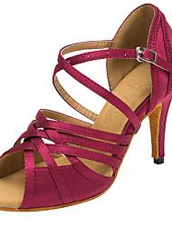 "cheap -Women's Latin Salsa Satin Sandal Heel Indoor Professional Buckle Hollow-out Customized Heel Purple Blue 1"" - 1 3/4"" 2"" - 2 3/4"" 3"" - 3"