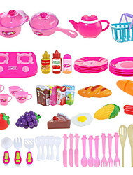 cheap -Pretend Play Toy Kitchen Sets Kids' Cooking Appliances Toys Vegetables Fruit DIY 54 Pieces