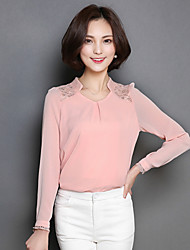 Women's Embroidery Going out Street chic Fall Blouse,Solid V Neck Long Sleeve Blue / Pink / White Polyester Thin