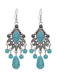 Ethnic Style Silver Water Drop Tassel Earrings Jewelry Vintage Turquoise Bohemia Carved Women Long Earring