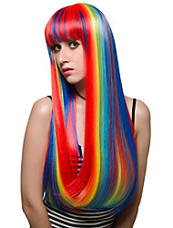 Rainbow Color Fashion Wig Long Hair Straight Party Halloween Costume Wig