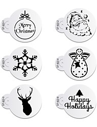 6pcs/lots Happy Holiday Santa Claus Cookies Stencil Coffee Decorative Stencil  ST-922