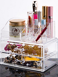 cheap -Acrylic Transparent Complex Combined 3 Layer Cosmetics Storage with Double Drawer Cosmetic Organizer