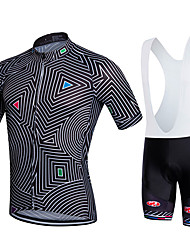 cheap -Fastcute Men's Short Sleeve Cycling Jersey with Bib Shorts - Black Bike Bib Tights / Jersey / Clothing Suits, Quick Dry, Breathable
