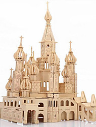 cheap -3D Puzzles Jigsaw Puzzle Wooden Puzzles Wood Model Model Building Kits Castle Famous buildings Architecture 3D Simulation Wood