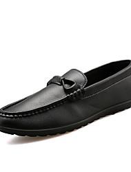 abordables -Hombre Cuero Otoño Calzado de Barco Paseo Antideslizante Negro / Naranja / Azul