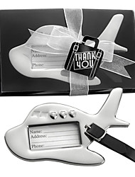 """Chrome """"Bon Voyage"""" Silver-Finish Airplane Luggage Tag, Travel Tag Place Card Holder Wedding Favors"""