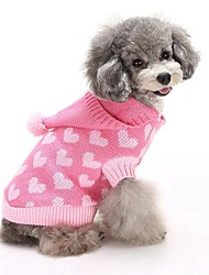 cheap -Cat Dog Sweater Hoodie Dog Clothes Cute Keep Warm Fashion Heart Blue Pink Costume For Pets
