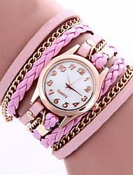 cheap -Lady's Bohemian Style Rivet Leather Band White Case Analog Quartz Layered Bracelet Fashion Watch