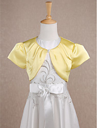 Short Sleeves Satin Wedding Party Evening Kids' Wraps With Draped Shrugs