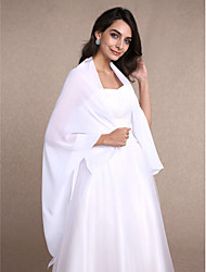 Women's Wrap Shawls Sleeveless Chiffon White Wedding Party/Evening Wide collar 30cm Draped Open Front