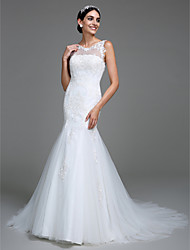 Mermaid / Trumpet Scoop Neck Court Train Tulle Wedding Dress with Appliques Button by LAN TING BRIDE®
