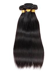 お買い得  -ブラジリアンヘア ストレート バージンヘア 人間の髪編む 人間の髪織り 8a ブラック