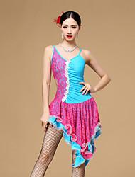 Dança Latina Vestidos Mulheres Actuação Algodão Poliéster Renda Renda Franzido Plissado 1 Peça Sem Mangas Natural Vestido