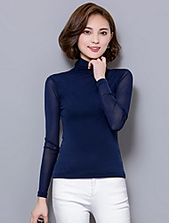 cheap -Daily Sexy Fall Blouse,Solid Turtleneck Long Sleeve Blue / Pink / Red / White / Black / Gray Polyester Thin