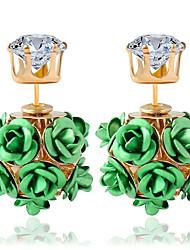 Moda Liga Formato de Flor Vermelho Verde Azul Rosa claro Arco-Íris Jóias Para Casamento Festa Diário Casual 1 par