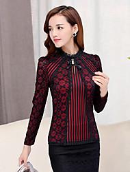 Femme Dentelle/Noeud Tee-shirt,Couleur Pleine Sortie Vintage Automne Manches Longues Mao Rouge Beige Noir Coton Spandex Moyen