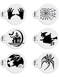 cheap -6pcs/set Halloween Decorating Stencil Bat Design Cookies Stencil Fondant Plastic Stencil for Cake ST-913
