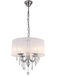 cheap -White Brushed Drum Fabric Crystal Chandelier