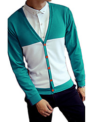 Men's Color Block Casual / Sport Cardigan,Wool / Cotton Long Sleeve Black / Blue / Brown / Green / Red  Wool Sweater