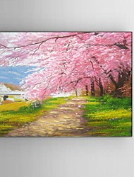 Ready to Hang Stretched Frame Hand-painted Oil Painting Canvas Wall Art Japan Pink Cherry Blossom Scenery