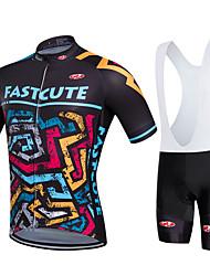 Fastcute Maglia con salopette corta da ciclismo Per uomo Per donna Bambini Unisex Manica corta Bicicletta Salopette Felpa
