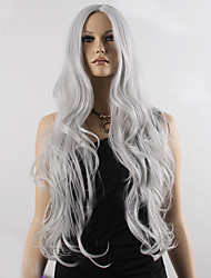 cheap -Fashion Natural Wavy Long Length Grey Color Popular Synthetic Wig For Woman Cosplay Wigs.