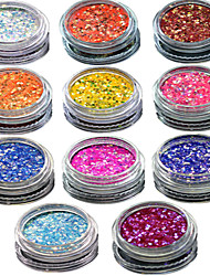 cheap -1 set include 11 bottles nail art match color highlight glitter shining colorful powder nail makeup beauty 01 11